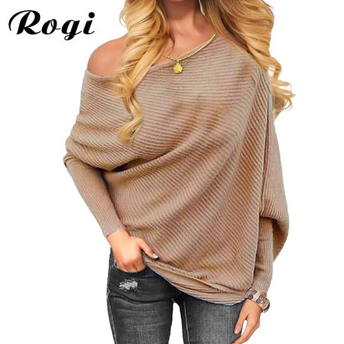 Rogi 2019 Autumn Sweater Women Long Batwing Sleeve Sexy Off Shoulder Knitted Sweater Solid Baggy Sweaters Pullover Jumper Tops - Joelinks store
