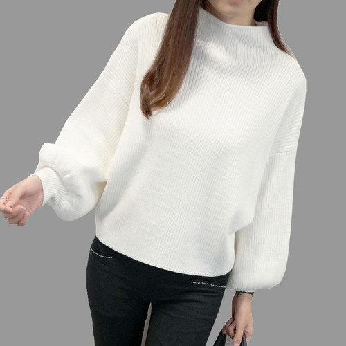 2019 New Winter Women Sweaters Fashion Turtleneck Batwing Sleeve Pullovers Loose Knitted Sweaters Female Jumper Tops - Joelinks store