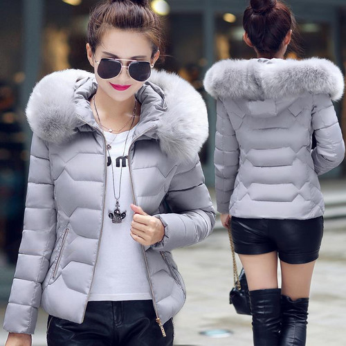 Hooded Warm Winter Women Short Coats Ladies Jacket Light Female Casual Fashion Zip Coat Cotton Fur Womans Parkas Outwear FWT4583 - Joelinks store
