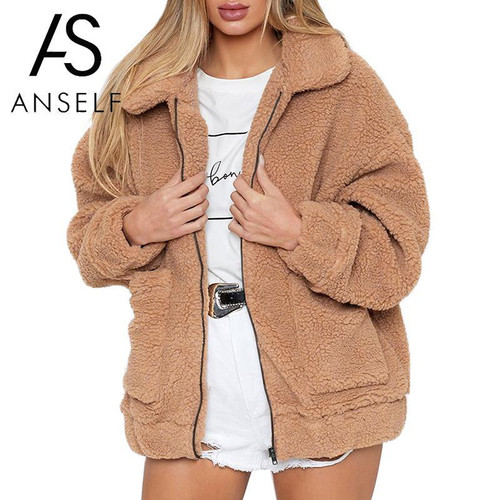 Women Faux Fur Jacket Fluffy Teddy Bear Fleece Fake Fur Coat Zip Pocket Long Sleeve Casual Streetwear Winter Manteau Femme Hiver - Joelinks store