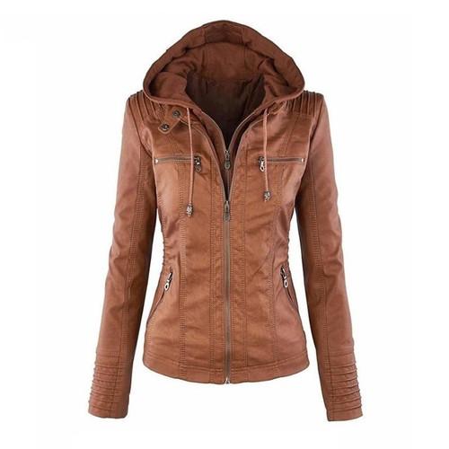 SHUJIN Faux Leather Jacket Women Autumn Motorcycle Plus Size PU Leather Jackets Casual Streetwear Windbreak Hooded Jacket Coat - Joelinks store