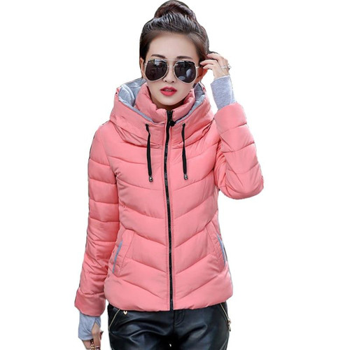 2019 hooded women winter jacket short cotton padded womens coat autumn casaco feminino inverno solid color parka stand collar - Joelinks store