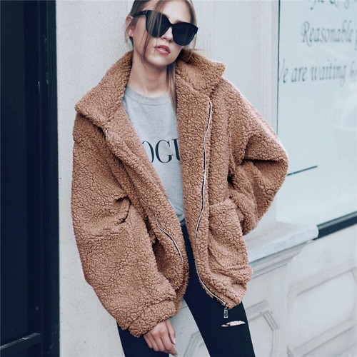 Elegant Faux Fur Coat Women 2019 Autumn Winter Thick Warm Soft Fleece Jacket Pocket Zipper Outerwear Overcoat Bear Teddy coat - Joelinks store