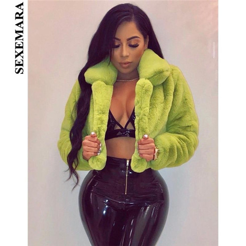 SEXEMARA Fashion Lime Green Short Faux Fur Coat Winter Neon Fluorescent Warm Cardigan Cropped Jacket Fluffy Teddy Coats C48-AH36 - Joelinks store