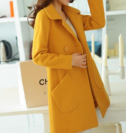 New woolen coat long-sleeved jacket long lapel wool coats fashion Large size woolen women's s-4xl blends spring parkas outerwear - Joelinks store