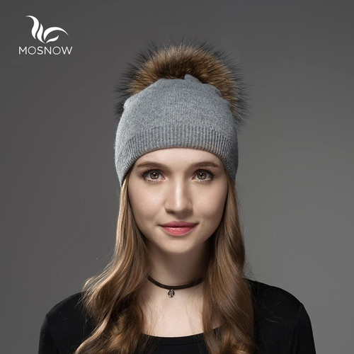 Mosnow Hat Female  Women Raccoon Wool Fox Fur Pom Poms Warm Knitted Casual High Quality Vogue Winter Hats Caps Skullies Beanies - Joelinks store