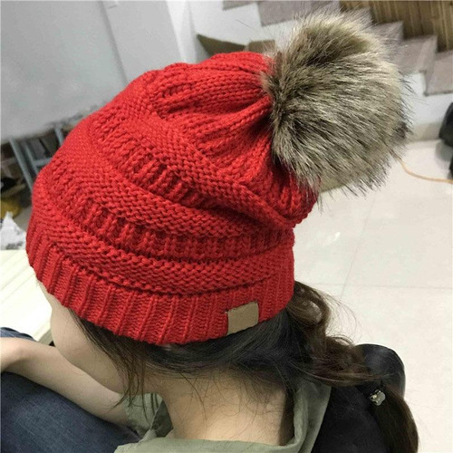 Woman Winter Hat Beanie C Faux Fur Pom Pom Ball For Hats Knitted Cap Skully Warm Ski Hat Trendy Soft Brand Thick Female Caps - Joelinks store