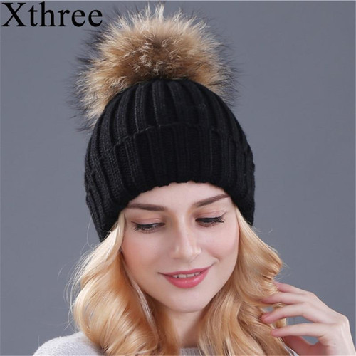 Xthree mink and fox fur ball cap pom poms winter hat for women girl 's hat knitted  beanies cap brand new thick female cap - Joelinks store