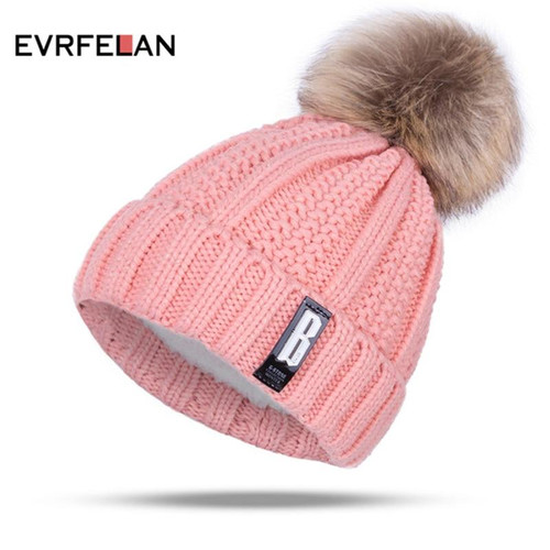 2019 New Pom Poms Winter Hat for Women Fashion Solid Warm Hats Knitted Beanies Cap Brand Thick Female Cap Wholesale - Joelinks store