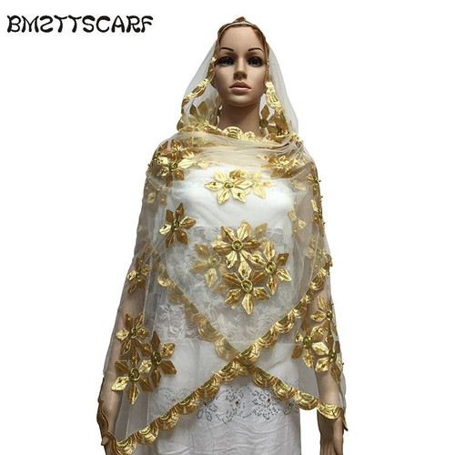 New african scarfs muslim embroidery women Net Small Scarf with Beads small size tulle material soft scarf for shawls - Joelinks store