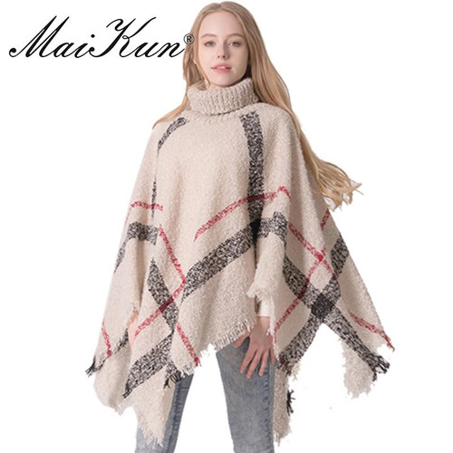 Maikun High Collar Scarf for Women Winter Warm Batwing Tassels Poncho Cape Wool Plaid Knit Sweater Plaid Cloak - Joelinks store