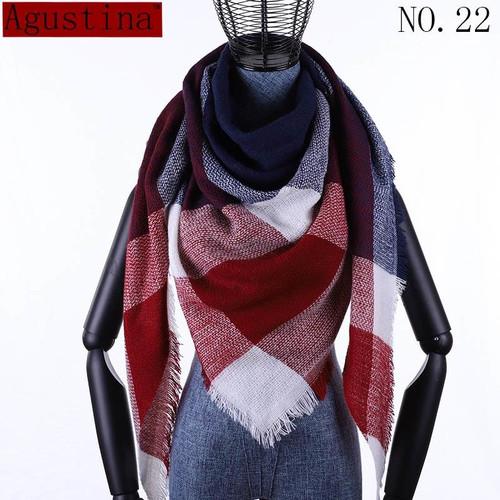 Plaid scarf winter women cashmere shawl poncho triangle scarfs luxury capes brand  pashmina ladies scarves womens shaws tartan - Joelinks store