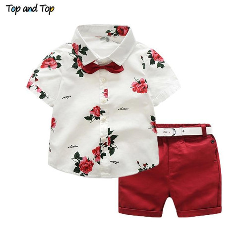Top and Top boys clothing sets summer gentleman suits short sleeve shirt + shorts 2pcs kids clothes children clothing set - Joelinks store