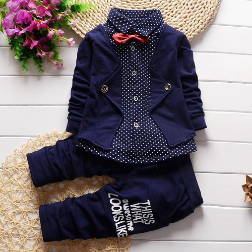 BibiCola Spring autumn children clothing set 2019 new fashion baby boys shirt fake clothes sport suit kids boys outfits suit - Joelinks store