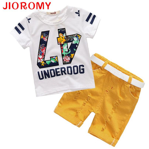 Hot Sale! 2019 Summer Style Children Clothing Sets Tops + Shorts+ Belt =3 Pcs Set Boys Girls T Pants Sports Suit Kids Clothes k1 - Joelinks store