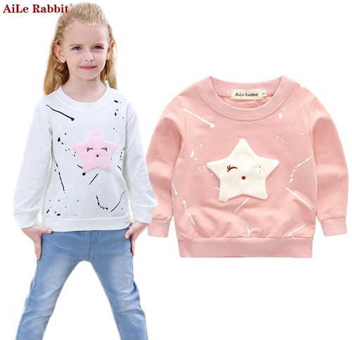 AiLe Rabbit  New Baby Girls Clothing Banner Star Girls  Long Sleeve T Shirt Children's Clothing  Casual Tops Tee Shirt k1 - Joelinks store