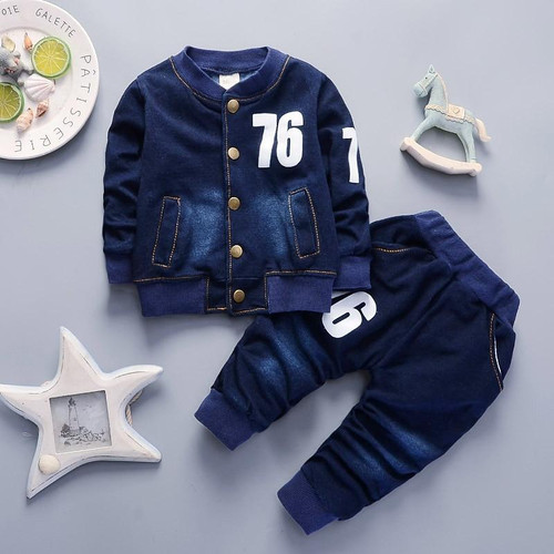 BibiCola baby Boys Clothing Sets spring autumn Toddler Sport Suit Kids Clothing Set children Clothes Denim Jeans Coat+Pants - Joelinks store