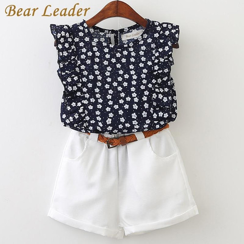Bear Leader 2019 New Summer Casual Children Sets Flowers Blue T-shirt+  Pants Girls Clothing Sets Kids Summer Suit For 3-7 Years - Joelinks store