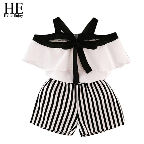 HE Hello Enjoy Summer Girls Clothes Sets Children's Clothing Fashion Girl Shirt Top+Striped Shorts Suits 2019 Kids Clothing 2pcs - Joelinks store