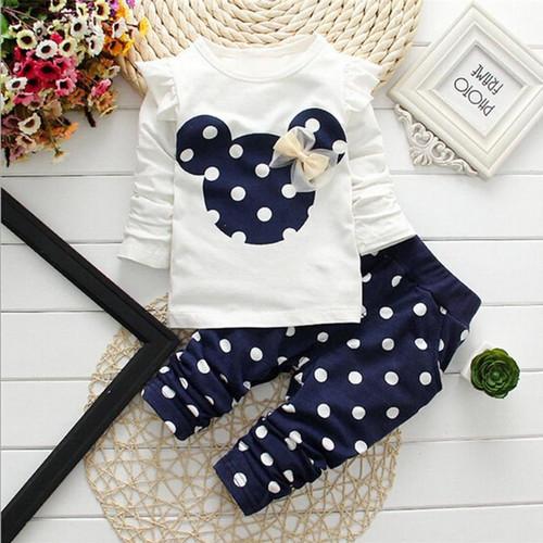 2019 new t shirt +pants suit baby kids 2pcs/set baby girls clothing sets minnie children clothes bow tops suit Dresses - Joelinks store