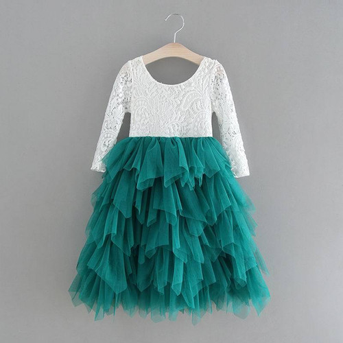 Retail New Girls Lace Dress Flower Tiered Tulle Maxi Dress Long Sleeve Princess For Wedding Party Children Clothes 1-10Y E17104 - Joelinks store