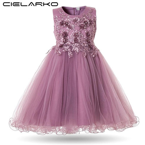 Cielarko Flower Girls Dress Wedding Party Dresses for Kids Pearls Formal Ball Gown 2019 Evening Baby Outfits Tulle Girl Frocks - Joelinks store