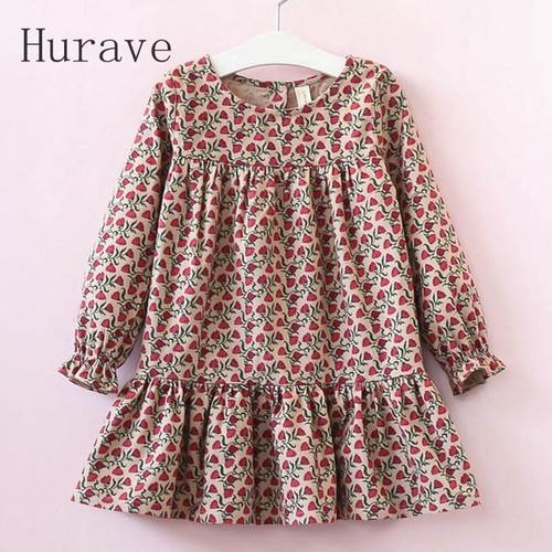 Hurave 2019 New Casual Style Kids Dress Children Autumn Design Long Sleeve Girls Dresses Flowers print clothing - Joelinks store