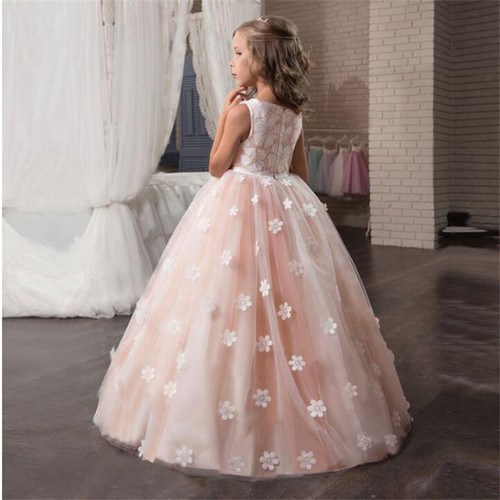 Fancy Flower Long Prom Gowns Teenagers Dresses for Girl Children Party Clothing Kids Evening Formal Dress for Bridesmaid Wedding - Joelinks store