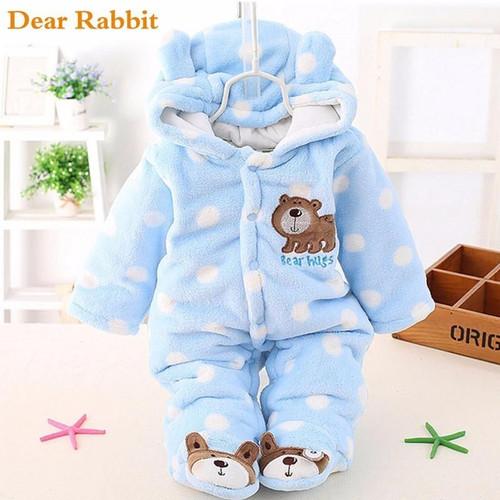 baby Plus velvet thicker coat winter clothing bodysuit newborn warm romper Snow Wear jumpsuits for girl cotton warm clothes coat - Joelinks store
