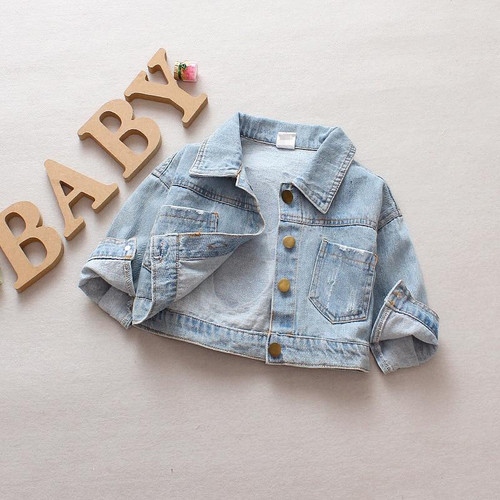 2019 Autumn Baby Girls Denim Jeans Jacket Cartoon Long Sleeve Lapel Collar Casual Children Kids Outerwear Coat casaco - Joelinks store