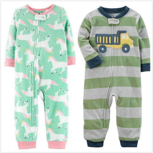 Baby clothes unicorn fleece bebes jumpsuit winter pajamas infants baby boys clothing toddler baby girl rompers high collar 9-24m - Joelinks store