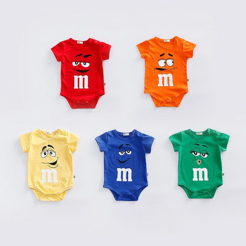 Newborn baby cotton rompers Summer short sleeve soft infant baby clothes bebe roupas  M chocolates candy jumpsuits costume - Joelinks store