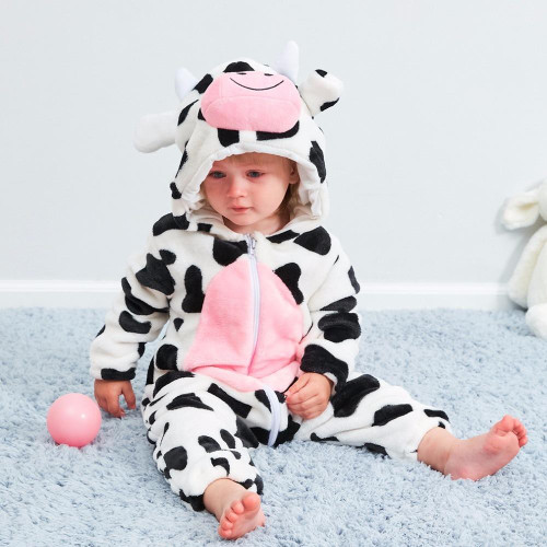 Baby Girl Clothes Cartoon Cow Anime Flannel Hooded Sleepwear Newborn Christmas Costumes Rompers Bebes Winter Clothes Night Wear - Joelinks store