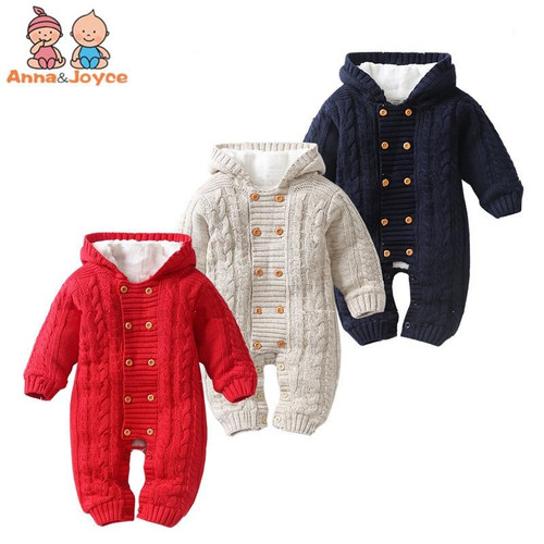 Thick Warm Infant  Newborn Baby Boy Girl Knitted Sweater Jumpsuit Hooded Kid Toddler Outerwear Baby Rompers Winter Clothes - Joelinks store
