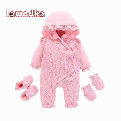 Newborn Baby Girl Rompers Long Sleeve Cotton Baby Rompers Winter Baby Jumpsuit 1st Birthday Party Lace Floral Baby Gloves Socks - Joelinks store
