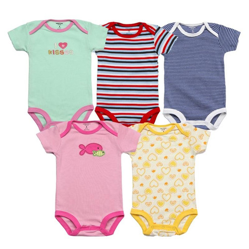 5Pcs Baby Rompers Summer Baby Girl Clothes 2018 Newborn Baby Clothes Cotton Baby Boy Clothing Sets Roupas Infant Jumpsuits - Joelinks store