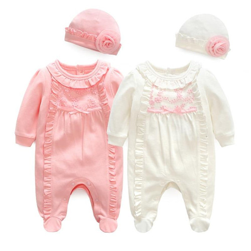 Girls Baby Romper Princess Baby Girl Clothes Autumn Winter Cotton Lace Rompers Hats for Newborns Baby Clothing Infant Jumpsuit - Joelinks store