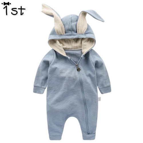 1st Newborn Baby Girls Boys Clothing Romper Cotton Long Sleeve Jumpsuit Playsuit Bunny Outfits One piecer 3D Ear Clothes k1 - Joelinks store