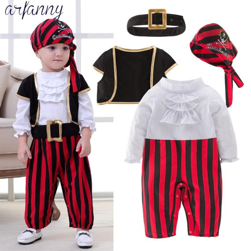 Baby Boys Clothes Lovely New Baby Pirate Captain Halloween Boy Set Children's Costume Dance Cosplay Young children4 pieces suits - Joelinks store