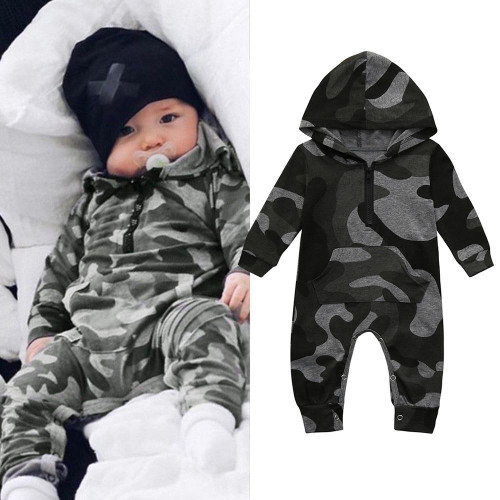 Infant Baby Boy Hooded Camouflage Romper Newborn Baby Camo Long Sleeve Romper New Warm Autumn Jumpsuit Outfit Boys Clothing 827 - Joelinks store