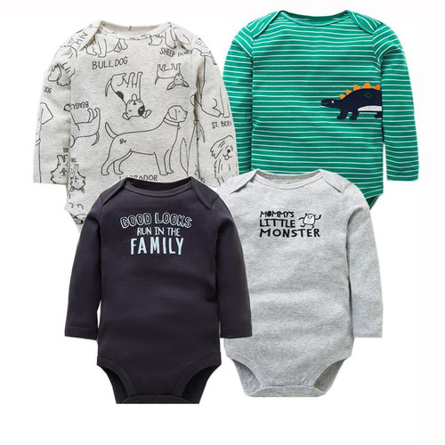 4 PCS/LOT Newborn Baby Clothing 2019 New Fashion Baby Boys Girls Clothes 100% Cotton Baby Bodysuit Long Sleeve Infant Jumpsuit - Joelinks store
