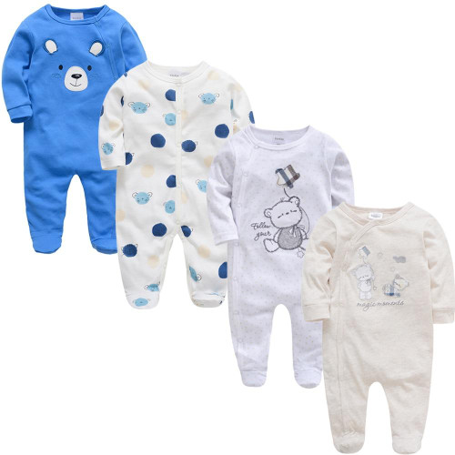 2019 3 4 pcs/lot Summer Baby Boy roupa de bebes Newborn Jumpsuit Long Sleeve Cotton Pajamas 0-12 Months Rompers Baby Clothes - Joelinks store