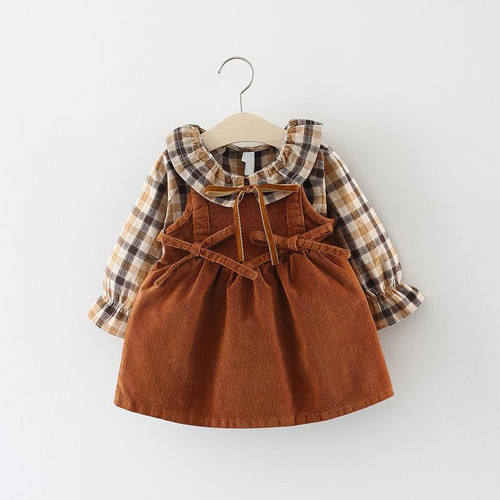 2019 New Promotion Cotton Vestido Infantil Baby Dress Autumn 0-3 Years Old Girls Fashion Plaid Strap Dress Two Sets Of Tide - Joelinks store