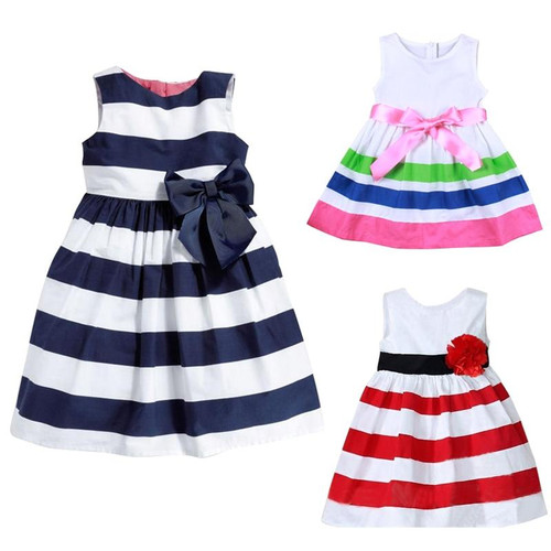 Baby Dresses For Girls Summer Princess Cute Cotton Striped Baby Girls Clothing Lolita Dress For 0-24 M Kids With Bow-knot - Joelinks store