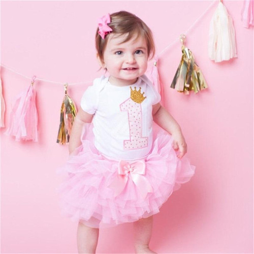 Cotton Baby Girls Clothes 1 Year 1st Birthday Dress Party Dresses For Girl Toddler Kids Baptism Gown Tutu Outfits with Headband - Joelinks store