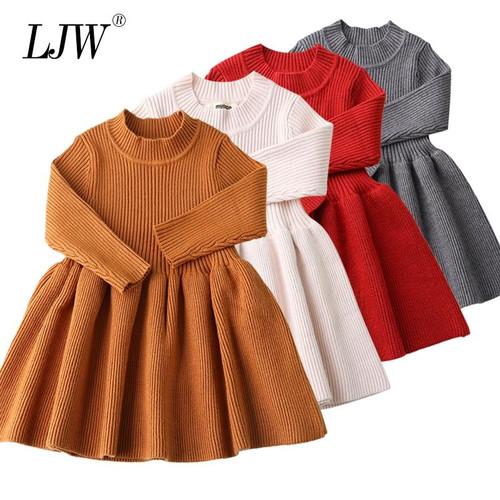 Baby Dresses For Girls Autumn Winter Long Sleeved Knit princess dress Lotus Leaf Collar Pocket Doll Dress Girls Baby Clothing - Joelinks store