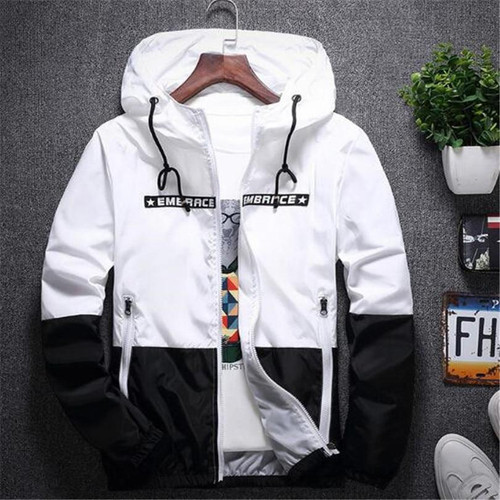 New Spring Autumn Bomber Hooded Jacket Men Casual Slim Patchwork Windbreaker Jacket Male Outwear Zipper Thin Coat Brand Clothing - Joelinks store