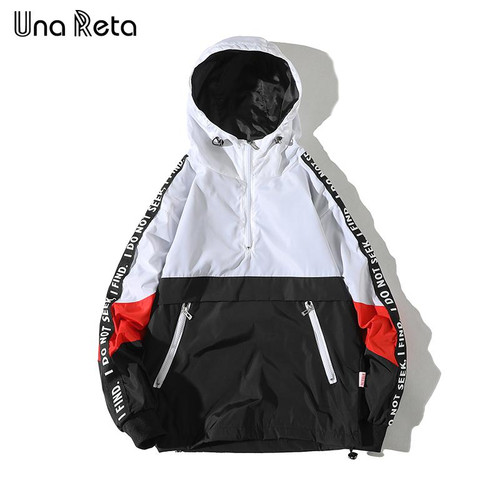 Una Reta Hooded Jackets Men 2019 New Patchwork Color Block Pullover Jacket Fashion Tracksuit Casual Coat Men Hip Hop Streetwear - Joelinks store