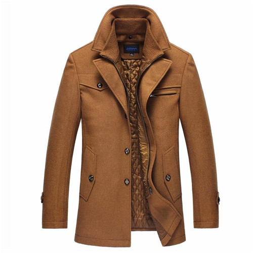 New Winter Warm Coat Men Casual Slim Fit Jacket Thick Windbreaker Woolen Overcoat Palto Jaket Men's Trench Peacoat Jackets 5XL - Joelinks store