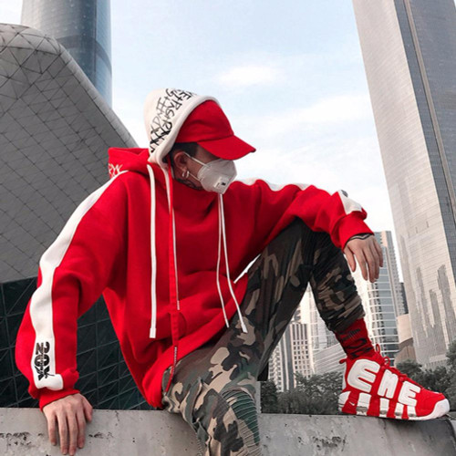 2019 New BF Oversize Hoodie Streetwear Hip Hop Red Black Double Hooded Hoody Mens Hoodies and Sweatshirts High Street L160 - Joelinks store